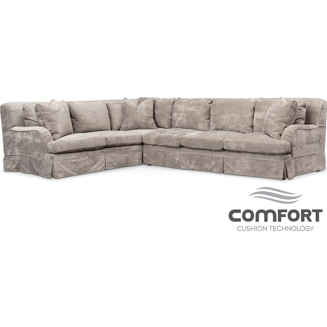 Living Room Furniture - Campbell Comfort 2-Piece Sectional with Right-Facing Sofa - Cement