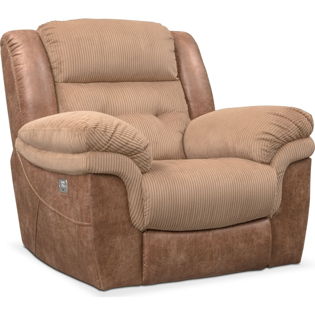 Rockridge Dual Power Recliner Brown Value City Furniture And