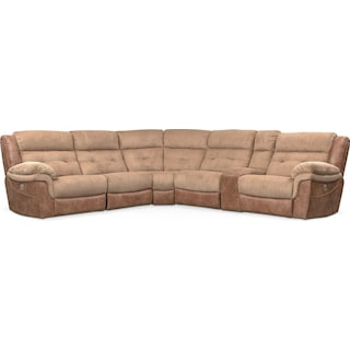 Rockridge 6-Piece Dual Power Reclining Sectional with 3 Reclining Seats - Brown