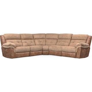 Rockridge 5-Piece Dual Power Reclining Sectional with 2 Reclining Seats - Brown