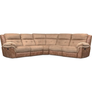 Rockridge 5-Piece Manual Reclining Sectional with 3 Reclining Seats - Brown