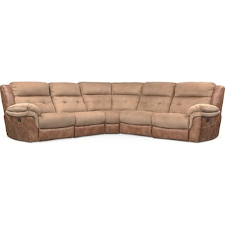 Rockridge 5-Piece Manual Reclining Sectional with 2 Reclining Seats - Brown