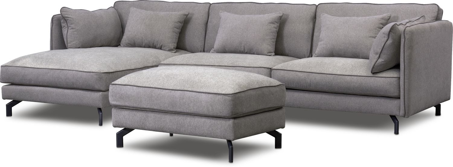 Living Room Furniture   Toby 2 Piece Sectional And Ottoman Set   Gray
