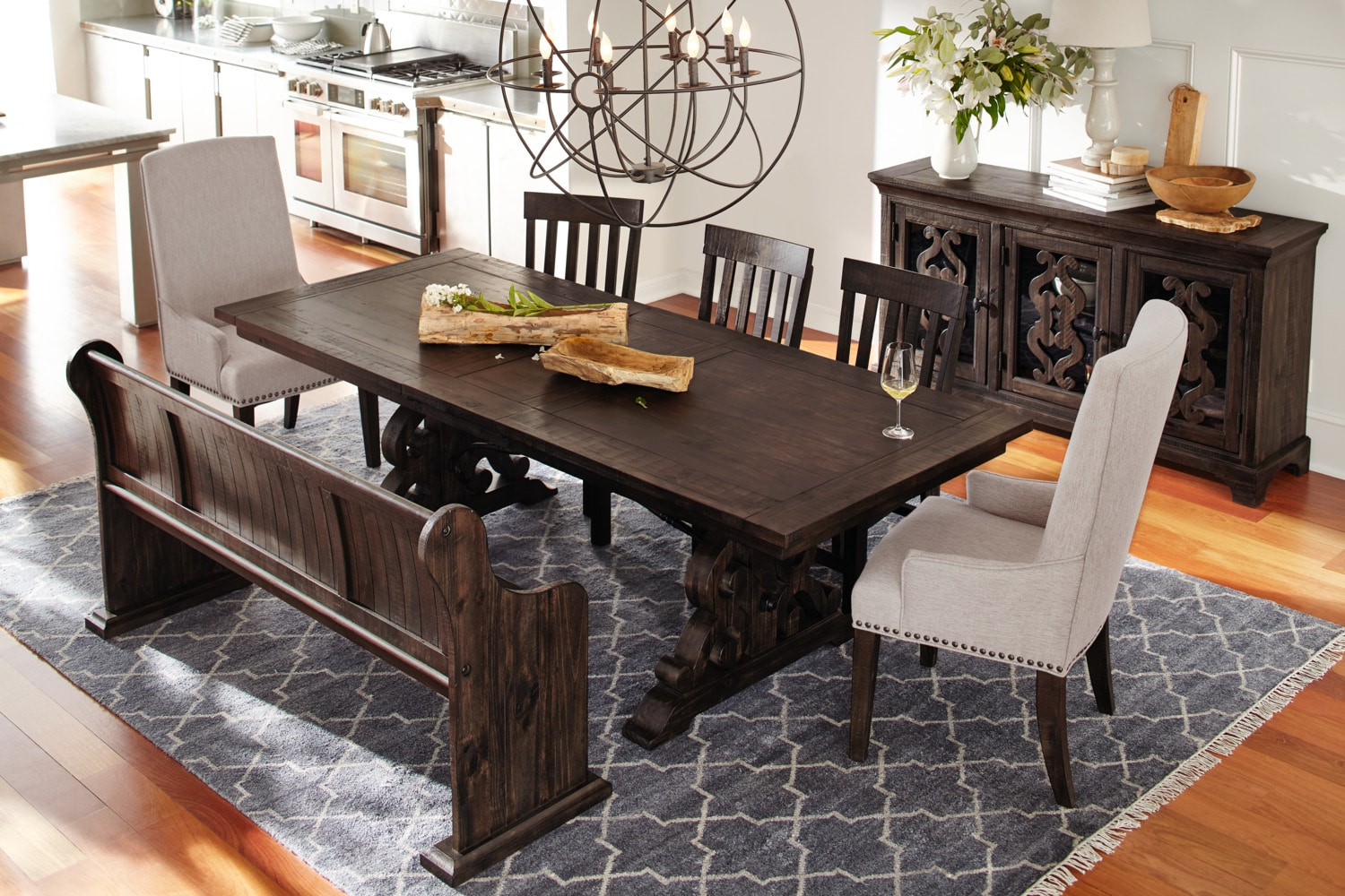 Charthouse Rectangular Dining Table, 4 Side Chairs And