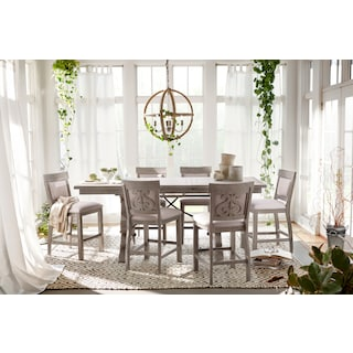 Charthouse Counter-Height Dining Table and 4 Upholstered Stools - Gray