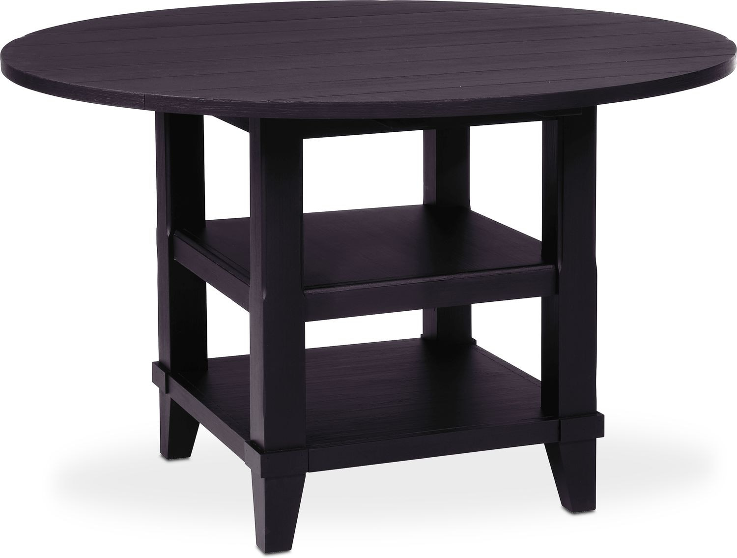 New Haven Round Drop Leaf Dining Table Black Value City