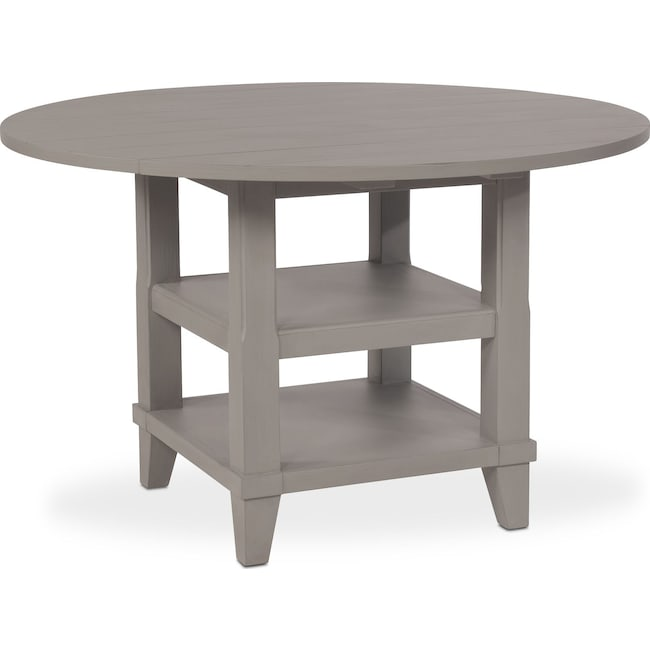 New Haven Round Drop Leaf Dining Table Gray Value City Furniture