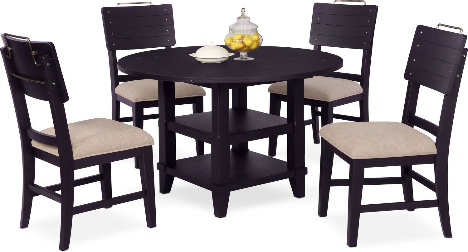 New Haven Round Dining Table and 4 Shiplap Side Chairs ...