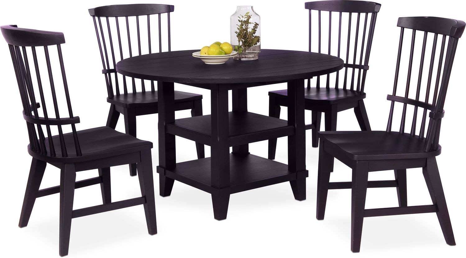 new haven round dining table and 4 windsor side chairs. Black Bedroom Furniture Sets. Home Design Ideas
