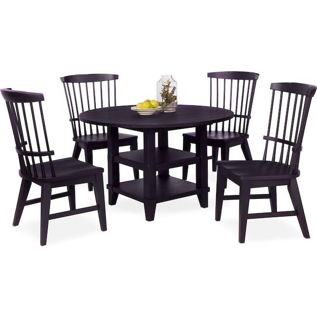 Dining Room Furniture - New Haven Round Dining Table and 4 Windsor Side Chairs - Black