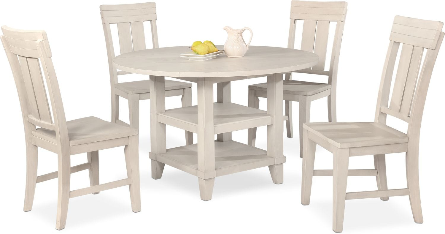 New Haven Round Dining Table and 4 Slat-Back Side Chairs ...