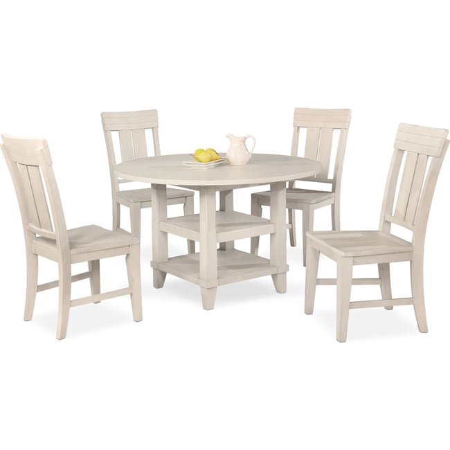 Dining Room Furniture - New Haven Round Dining Table and 4 Slat-Back Side Chairs - White