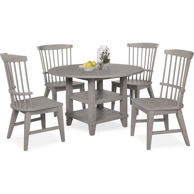 Dining Room Furniture - New Haven Round Dining Table and 4 Windsor Side Chairs - Gray