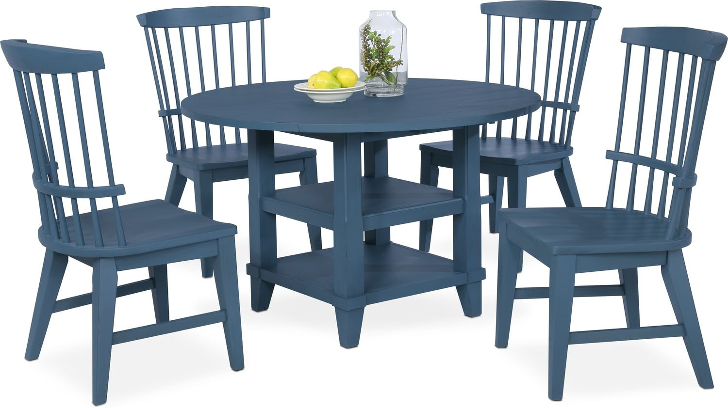 Dining room furniture new haven round dining table and 4 windsor side chairs blue