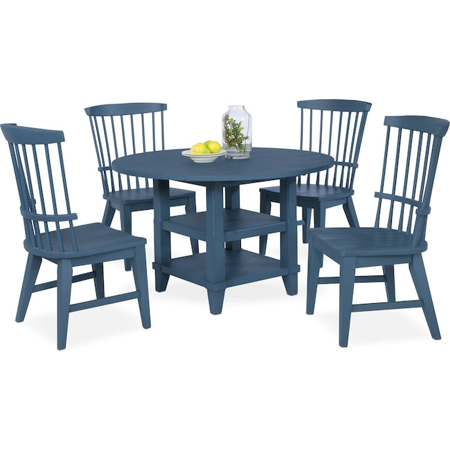 New Haven Round Dining Table And 48 Windsor Side Chairs Blue Interesting Blue Dining Room Furniture