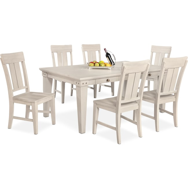 Dining Room Furniture - New Haven Dining Table and 6 Slat-Back Side Chairs - White
