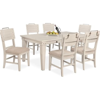 New Haven Dining Table and 6 Shiplap Side Chairs - White