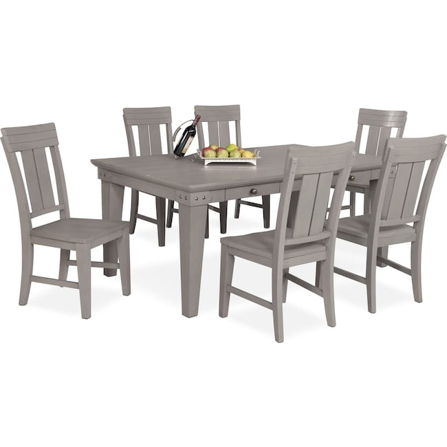 Dining Room Furniture - New Haven Dining Table and 6 Slat-Back Side Chairs - Gray