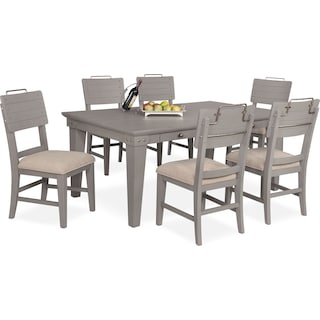New Haven Dining Table and 6 Shiplap Side Chairs - Gray