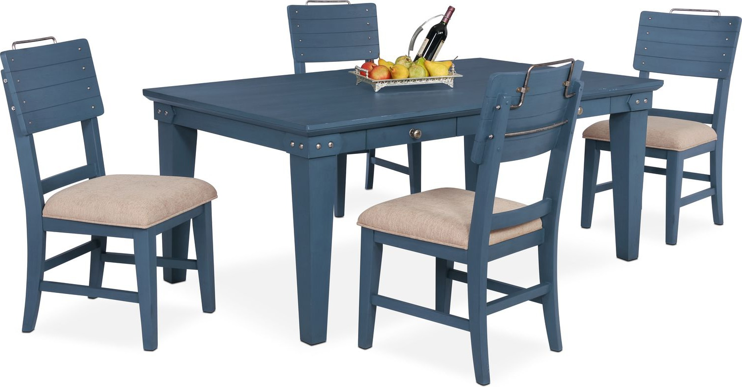 New Haven Dining Table And 4 Shiplap Side Chairs   Blue