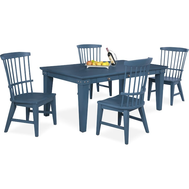 Dining Room Furniture - New Haven Dining Table and 4 Windsor Chairs - Blue