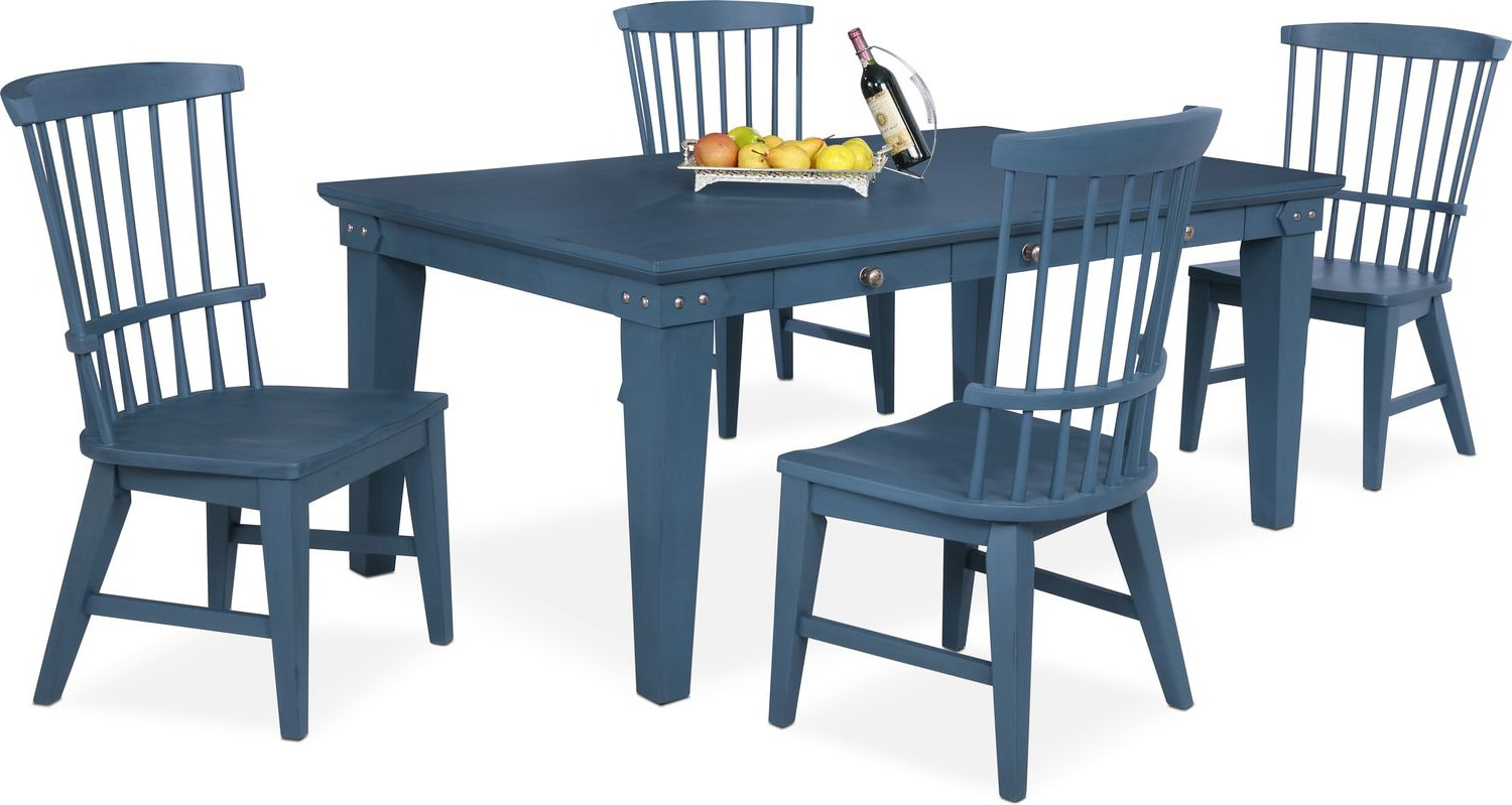 Dining Room Furniture   New Haven Dining Table And 4 Windsor Chairs   Blue