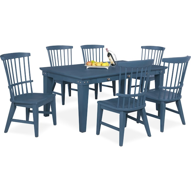 Dining Room Furniture - New Haven Dining Table and 6 Windsor Side Chairs - Blue