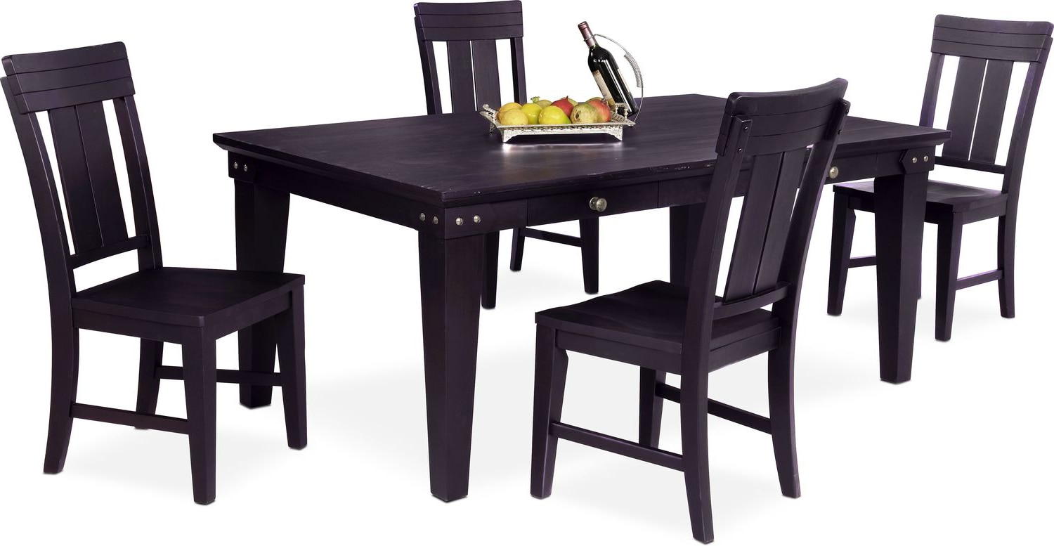 Dining Room Furniture - New Haven Dining Table and 4 Slat-Back Chairs - Black