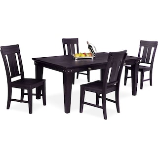 New Haven Dining Table and 4 Slat-Back Chairs - Black