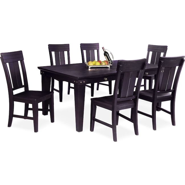Dining Room Furniture - New Haven Dining Table and 6 Slat-Back Side Chairs - Black