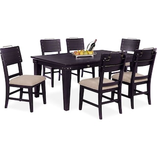 New Haven Dining Table and 6 Shiplap Side Chairs - Black