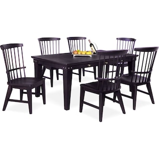 New Haven Dining Table and 6 Windsor Side Chairs - Black