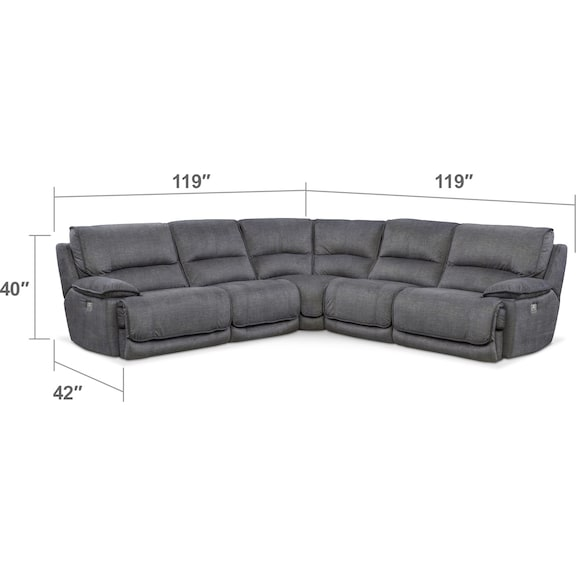 Living Room Furniture - Mario 5-Piece Dual-Power Reclining Sectional with 2 Reclining Seats