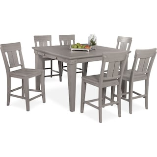 New Haven Counter-Height Dining Table and 6 Slat-Back Stools