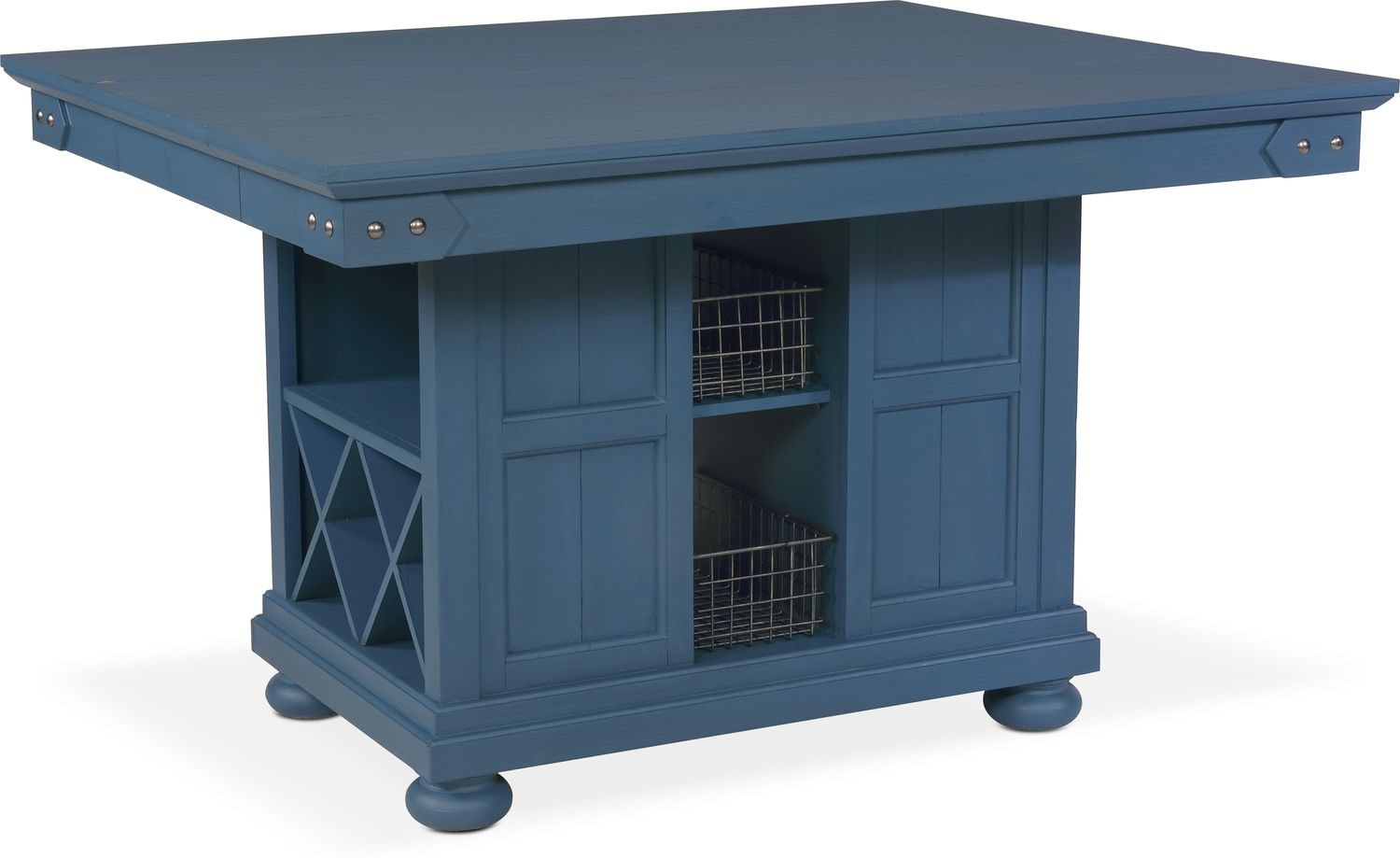 New Haven Kitchen Island - Blue | Value City Furniture and Mattresses