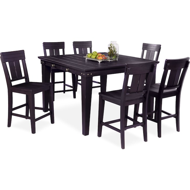 Dining Room Furniture - New Haven Counter-Height Dining Table and 6 Slat-Back Stools - Black