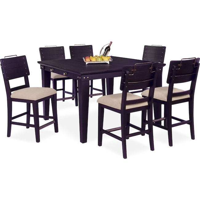 Dining Room Furniture - New Haven Counter-Height Dining Table and 6 Shiplap Stools - Black