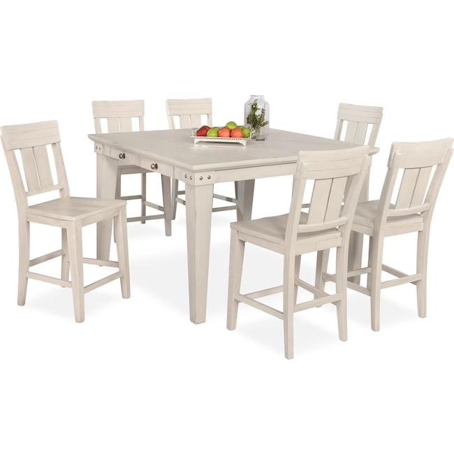 Dining Room Furniture - New Haven Counter-Height Dining Table and 6 Slat-Back Stools