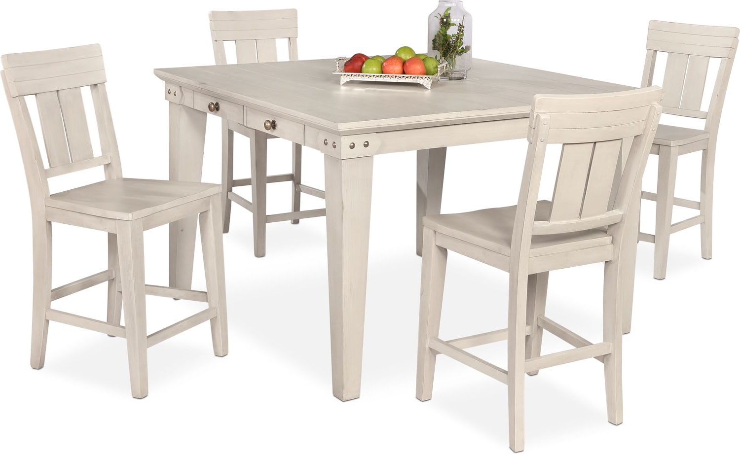 Dining Room Furniture - New Haven Counter-Height Dining Table and 4 Slat-Back Stools