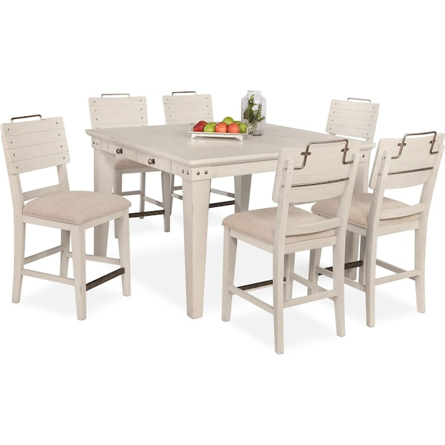 Dining Room Furniture - New Haven Counter-Height Dining Table and 6 Shiplap Stools - White