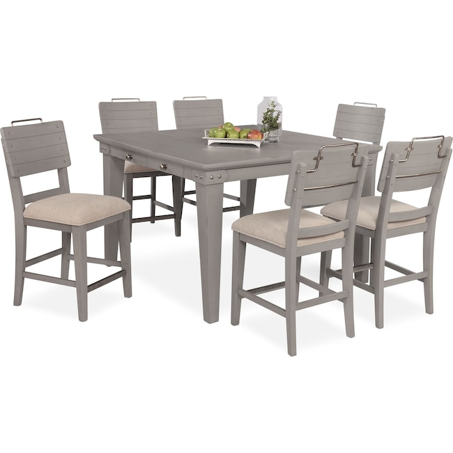 Dining Room Furniture - New Haven Counter-Height Dining Table and 6 Shiplap Stools - Gray