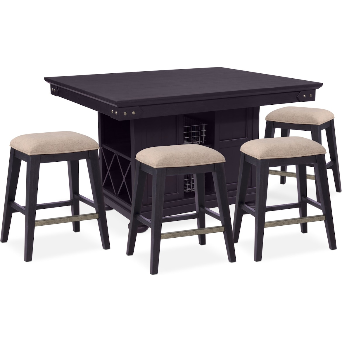Kitchen Island Taller Than Counters: New Haven Counter-Height Kitchen Island And 4 Backless