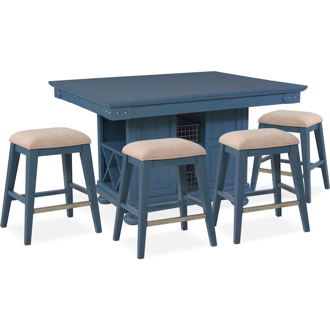 Dining Room Furniture - New Haven Counter-Height Kitchen Island and 4 Backless Stools - Blue
