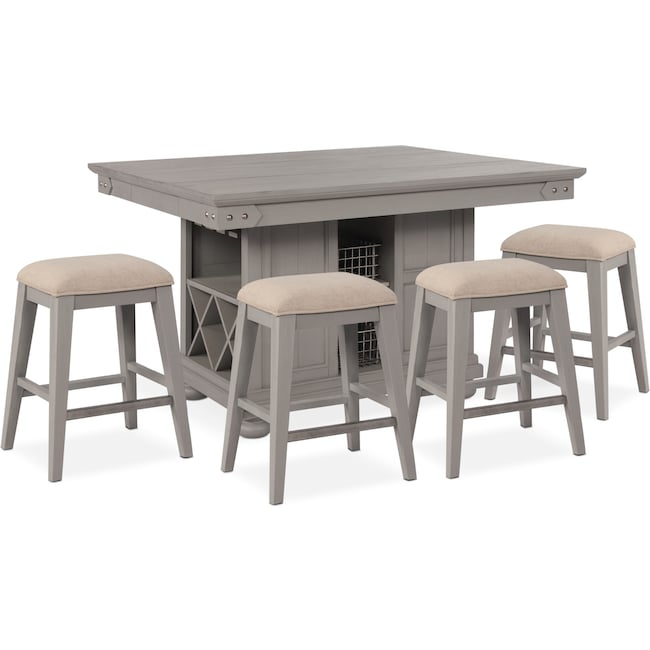 Dining Room Furniture - New Haven Counter-Height Kitchen Island and 4 Backless Stools