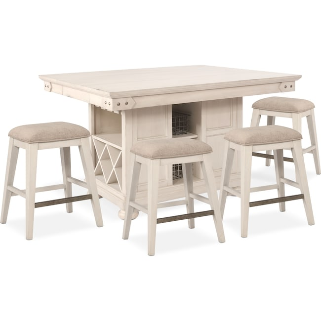 Kitchen Island Table And Chairs: New Haven Counter-Height Kitchen Island And 4 Backless Stools - White