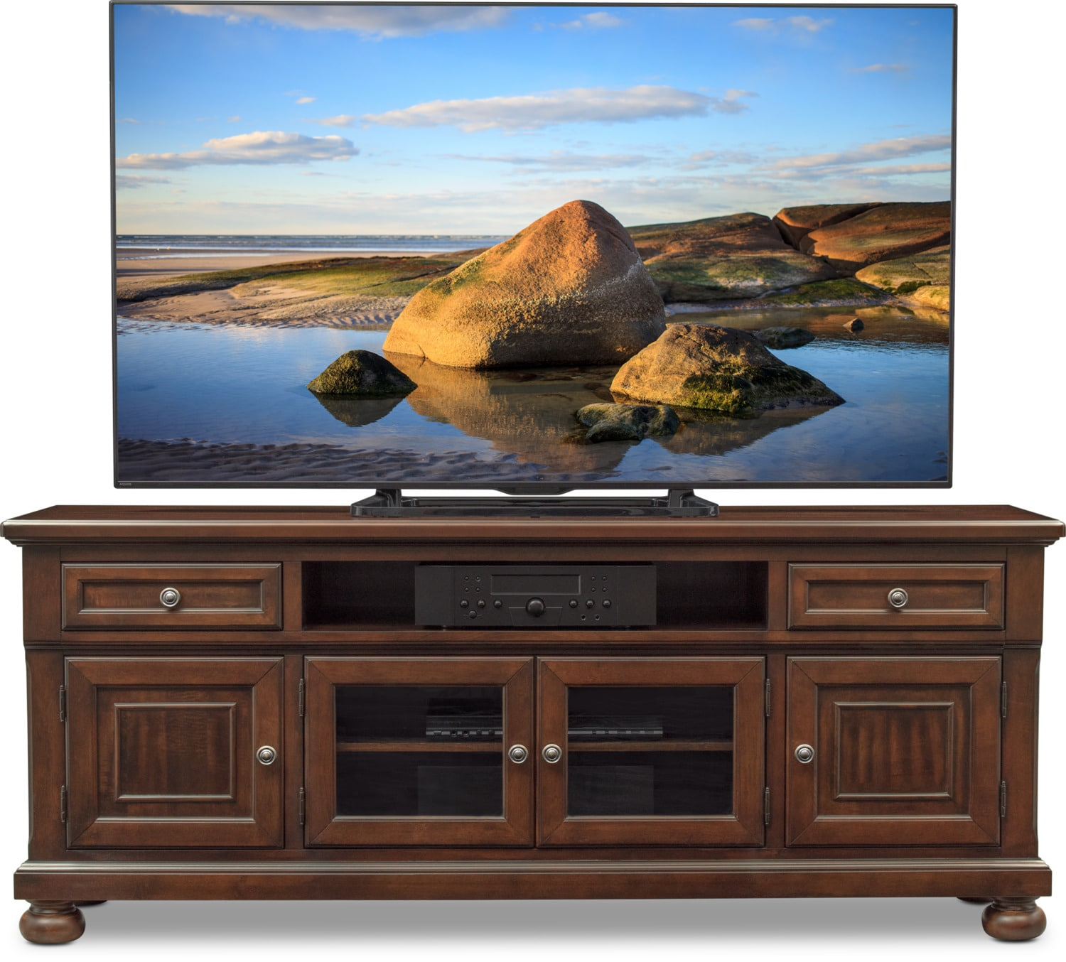 TV Stand Entertainment Center Media Console Wood Furniture Cabinet Storage Red