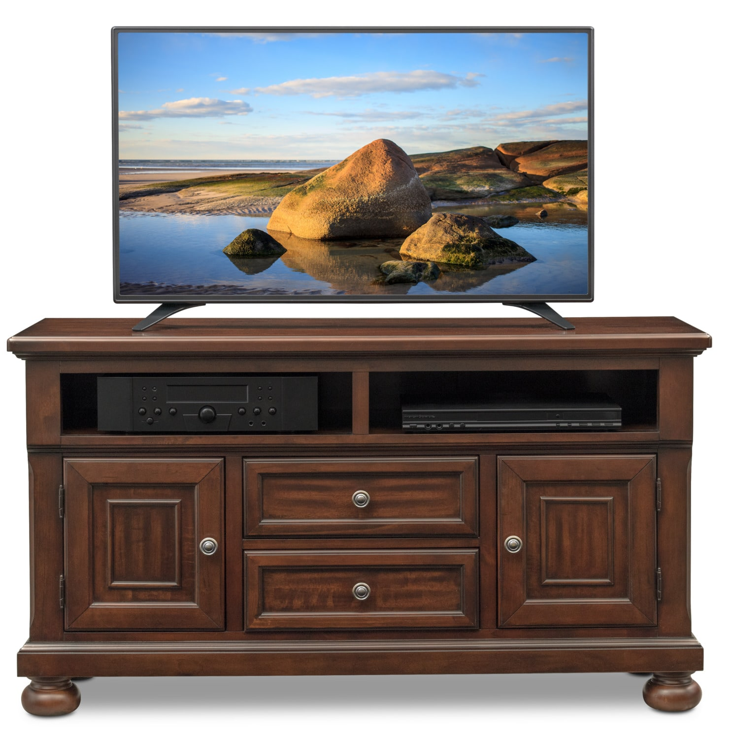 Hanover 52 Tv Stand Cherry Value City Furniture And Mattresses