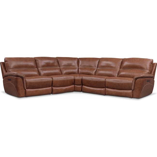 Living Room Furniture - Avanti 5-Piece Triple Power Reclining Sectional with 2 Reclining Seats