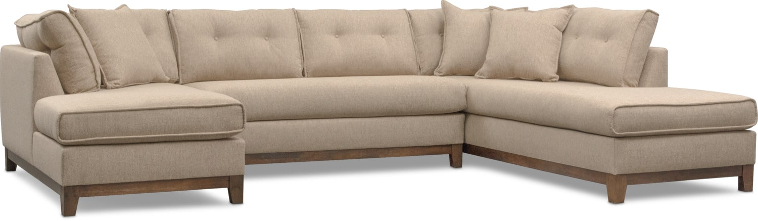 Living Room Furniture - Eastwood 3-Piece Right-Facing Sectional - Beige