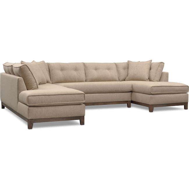 Living Room Furniture - Eastwood 3-Piece Left-Facing Sectional - Beige
